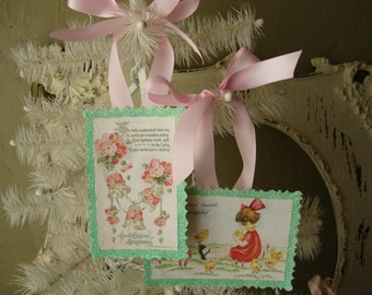 Victorian Easter tags pink flowers and cute little girl with chicks pink and mint green glittered gift tag ornaments