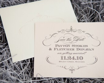 1943 Wedding Save the Date- Pale Pink and Pewter Silver