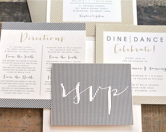 Ellie Pocketfold Wedding Invitation Suite with Twine Tie Band & Stripes - Ivory, Gold, Pewter Silver (Color and Verbiage are Customizable)