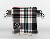 Hip Bag,  hip pouch, Fanny Pack,  Black, White and Red Tartan Plaid, Pouch, Handmade, belt clips.