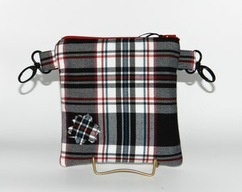 Hip Bag,  hip pouch, Fanny Pack,  Black, White and Red Tartan Plaid, Pouch, Handmade, belt clips.  FREE SHIPPING