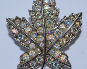 Rhinestone Leaf Brooch Vintage Leaf Pin