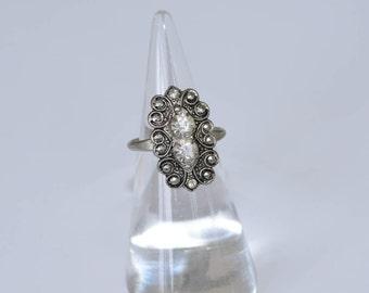 Antique Czech Rhinestone Ring Rhinestone and Marcasite Ring Vintage