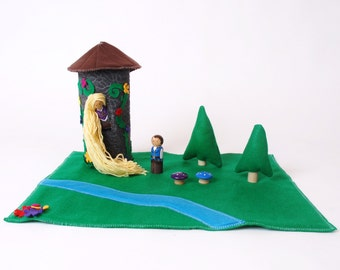 Princess Rapunzel Play Set  - Wood And Felt Play Set With Tower And Dolls