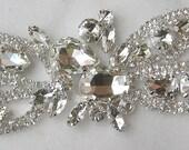 Crystal Rhinestone Applique, Rhinestone Wedding Motif  for Bridal Gown, Sash or Headband
