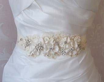 Romantic Ivory Bridal Sash, Wedding Belt, White, Champagne or Ivory Rhinestone and Pearl Flower Sash with Alencon Lace - MEADOW