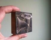 Vintage Wooden Letterpress Printer's Block - Meat Grinder