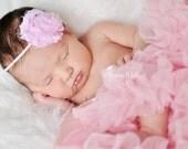 Pink Newborn Headband Pink Infant Headband Shabby Chic Flower Headband Flower Headband toddler Photo Prop/ Birthdays / Baby Shower