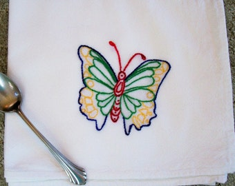 Colorful Butterfly- Hand Embroidered Kitchen Dish Towel
