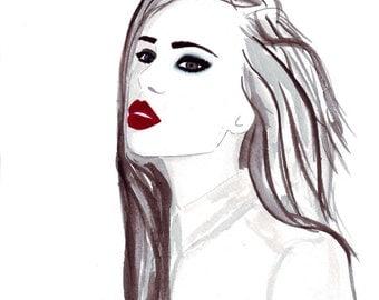Watercolour fashion illustration Titled La Belle