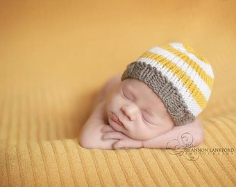 Knitted Newborn Baby Hat, Hand Knit Infant Cap, SALE, 6 Striped Color Options, Photo Prop, 0-3 mo 3-6 mo Beanie