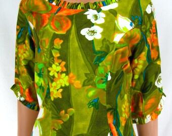 Vintage 1970s Tropical Green Hawaiian Maxi Dress by Reef