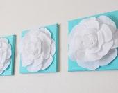 "Aqua Wall Art -SET OF THREE White Roses on Bright Aqua Solid 12 x12"" Canvas Wall Art- Nursery Decor -Nursery Art"