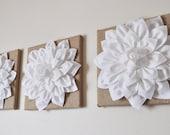 "Burlap -SET OF THREE White Dahlias on Burlap 12 x12"" Canvas Wall Art- Home Decor"
