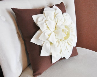 Ivory Dahlia Felt Flower on Brown Pillow  -Pick your Colors- Mum Flower Pillow- Textured Pillow