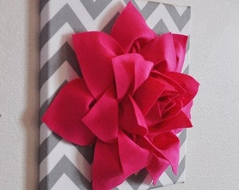 "Wall Decor -Hot Pink Lotus Lily Flower on Gray and White Chevron 12 x12"" Canvas Wall Art- Home Decor"