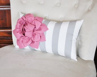 Stripe Lumbar Pillow Blush Pink on Gray and White Striped Lumbar Pillow 9 x 16