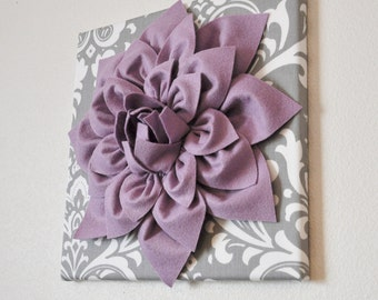 Wall Art Lilac Purple Dahlia On Gray And White Damask 12 X12 Canvas Baby