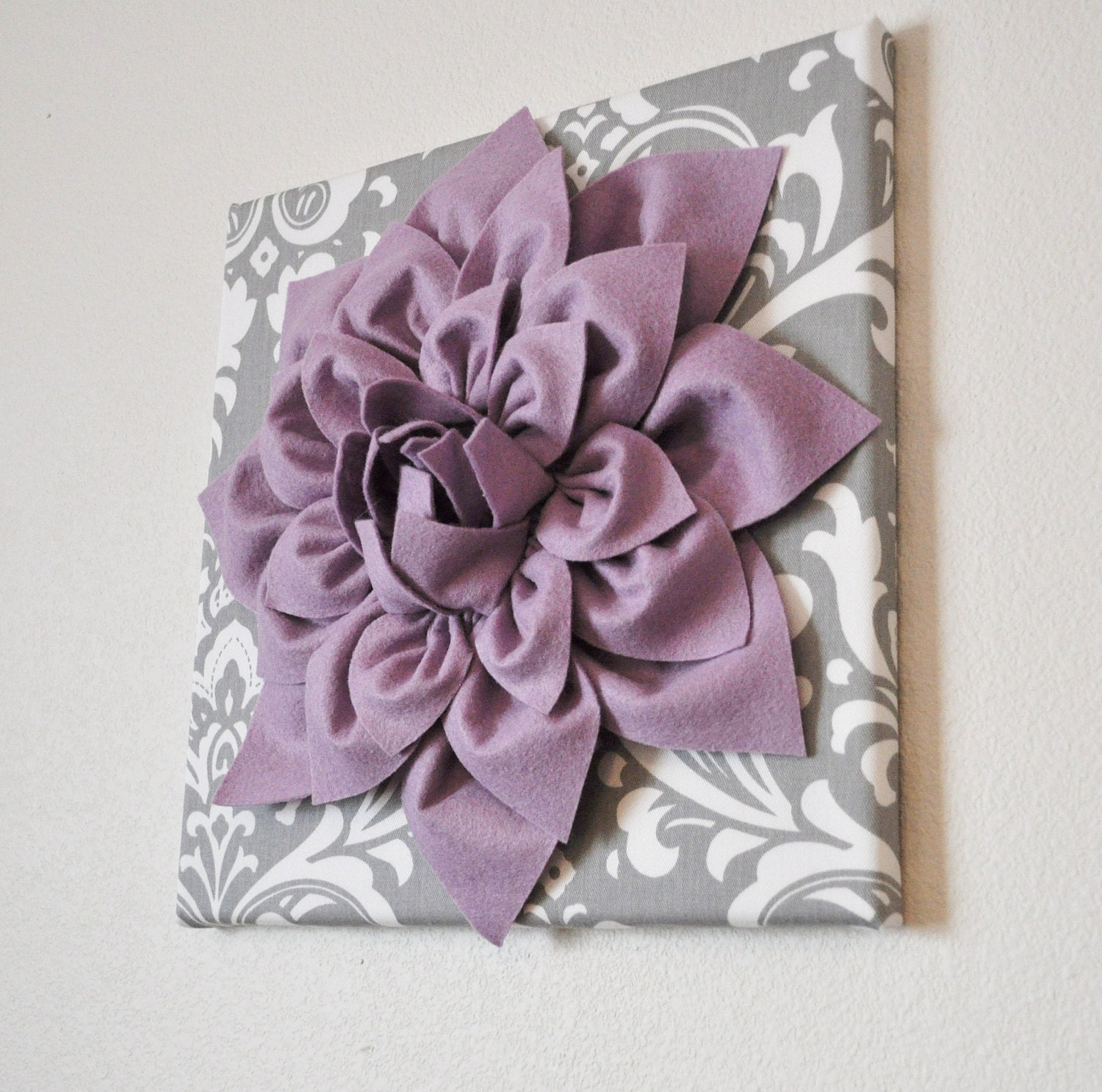 Wall Art Lilac Purple Dahlia on Gray and White Damask 12