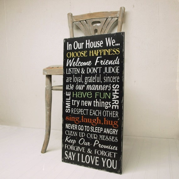 Black Version Family Rules Wood Sign Wall Art In Our House We