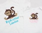 Big Sister Shirt, Little Brother Shirt - Monkeys