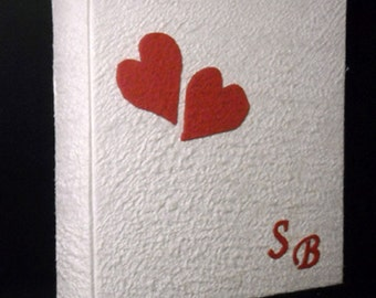 Red embossed hearts photo album white cotton paper custom initials wedding or boyfriends gift  scrapbook guest book made in Italy