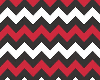 Medium Chevron in Red and Black by Riley Blake Fabrics, School Color Chevron, 1 Yard
