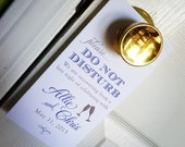 RESERVED for shradhag - Wedding Door Hangers with Champagne glasses - Do Not Disturb - Welcome Bag Fun - Custom Colors - Set of 40