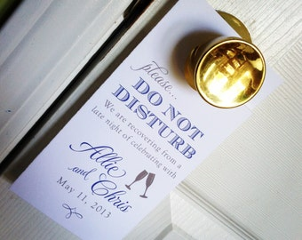 Wedding Door Hangers with Champagne glasses - Do Not Disturb - Welcome Bag Fun - Custom Colors / Fonts Available