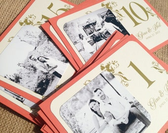 Personalized Photo Table Cards - Botanical, Garden - Coral, Cream / Ivory, Green - Custom Colors Available