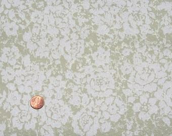 Vintage Floral Wallpaper Sage Green White Textured 1950s