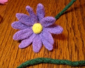 Purple Daisy Bookmark, Needle Felted Wool Flower Bookthong, Craft for Charity