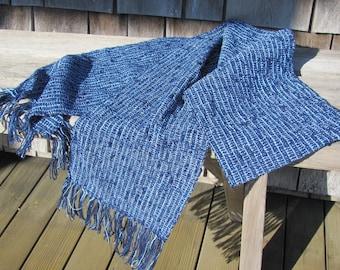 Fall Winter Mens Womens Fashion Blue Woven Scarf, Urban Rustic Seaside Coastal Beach Cottage Scarf, Cabin Country Clothing Accessory Scarf