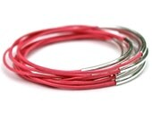 Spring Leather Bangle Bracelets // Hot Pink Set of 10 Stacking Bangle Bracelets // Amy Fine Design