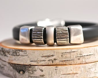 VEGAN Jewelry Mens Bracelet Mens Bangle Dude Gift Father's Day Gift Rubber Bracelet Rubber Bangle Eco Friendly Mens Jewelry Gift For Man