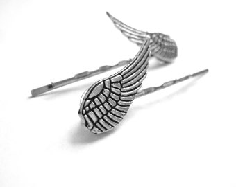 Silver Bobby Pins - Angel Wing Hair Pins Feathered Wing Bobbypins Womens Hair Clips