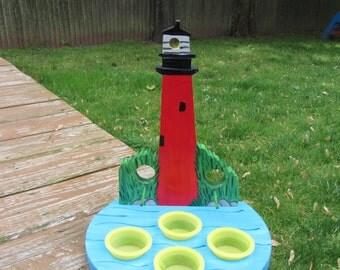 Handmade Custom Wooden Lighthouse Bird Feeder