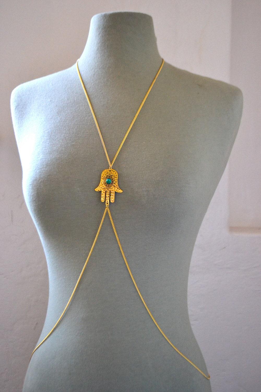 Gold Hamsa Hand Body Chain/ Body Jewelry/ Body by FrancisFrank