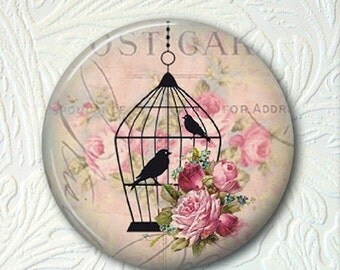 "Bird in a Cage Pocket Mirror, 2.25"" in Size,  Black Velour Pouch, Buy 3 Mirrors Get 1 Mirror Free  329"