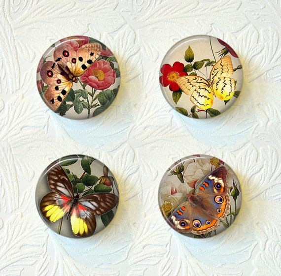 Magnet Set of 4 Butterflies and Flowers   Buy 3 Sets Get 1 Set Free   019M