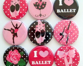 Ballet Magnets - Button Magnets - Set of Nine 1.25 Inch Button Magnets Packaged in a Custom Box