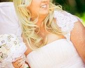 BRIDAL SHRUG Bolero  Wedding Cover Up in Eyelash Lace with Keyhole Back