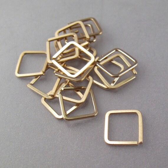 gold helix cartilage ring 14k goldfilled square hoop earring