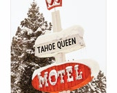 Tahoe Queen MOTEL Vacancy Lake Tahoe Ca  Vintage SIGN Photo Photograph red white gold w Pine Tree CROWN version 2