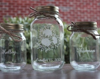 3 Piece Sunflower Mason Jar Sand Ceremony Set, Personalized, Wedding Ceremony, Mason Jars