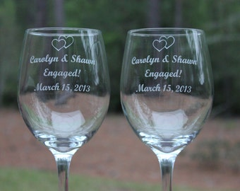 2 Wine Glasses for the Engaged Couple  Personalized Wine Glasses, Engraved, engagement gift