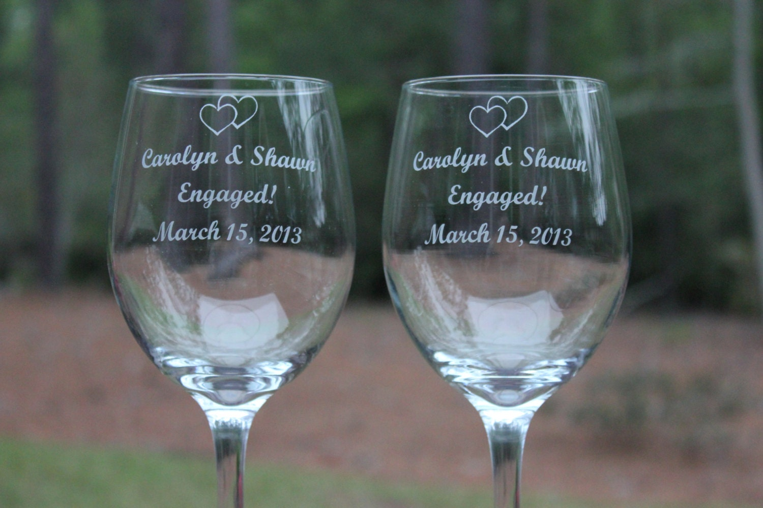 Etched Wine Glasses Wedding Gifts : Wine Glasses for the Engaged Couple Personalized Wine