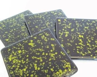 FUSED GLASS COASTERS - Lime Green and Black Coasters - Set of 4, Glass Coaster Set, Drink Coasters, Man Cave Coasters, Gift for Him, Glass