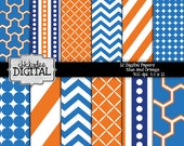 Blue Orange and White Digital Paper Pack, Lattice Digital Papers, Blue and Orange Digital Backgrounds, Printable Papers, Stripes, Chevron