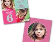 INSTANT DOWNLOAD -  Birthday Invitation Photoshop Psd Photo Card Template Photographers - Dotty Girl - 0563